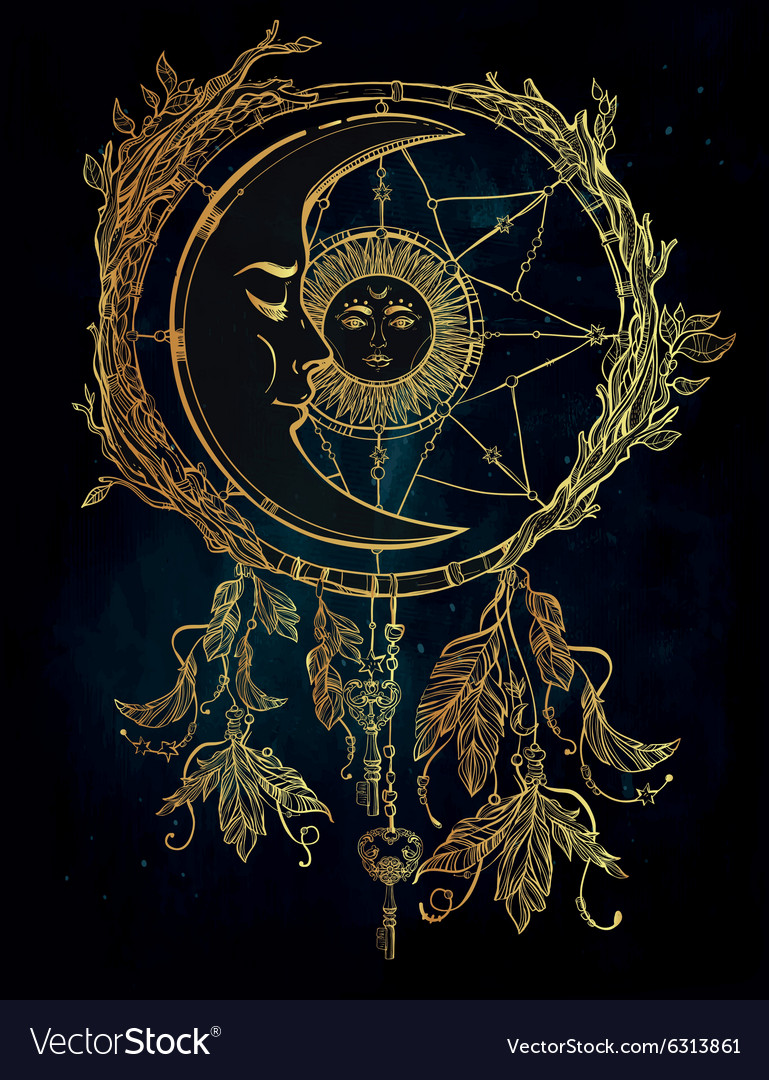 Dream catcher adorned with sun and moon inside vector
