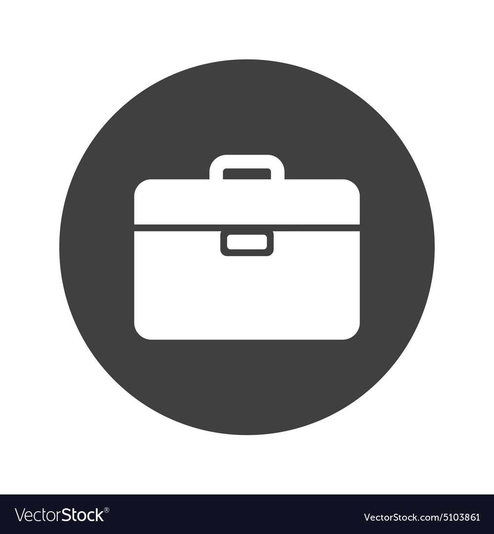 Monochrome round briefcase icon vector