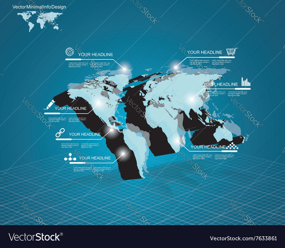 World map with pointer marks  communication vector