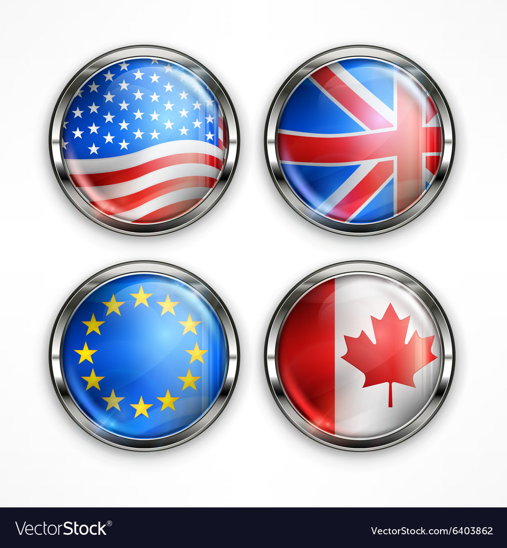 Flag round icons vector