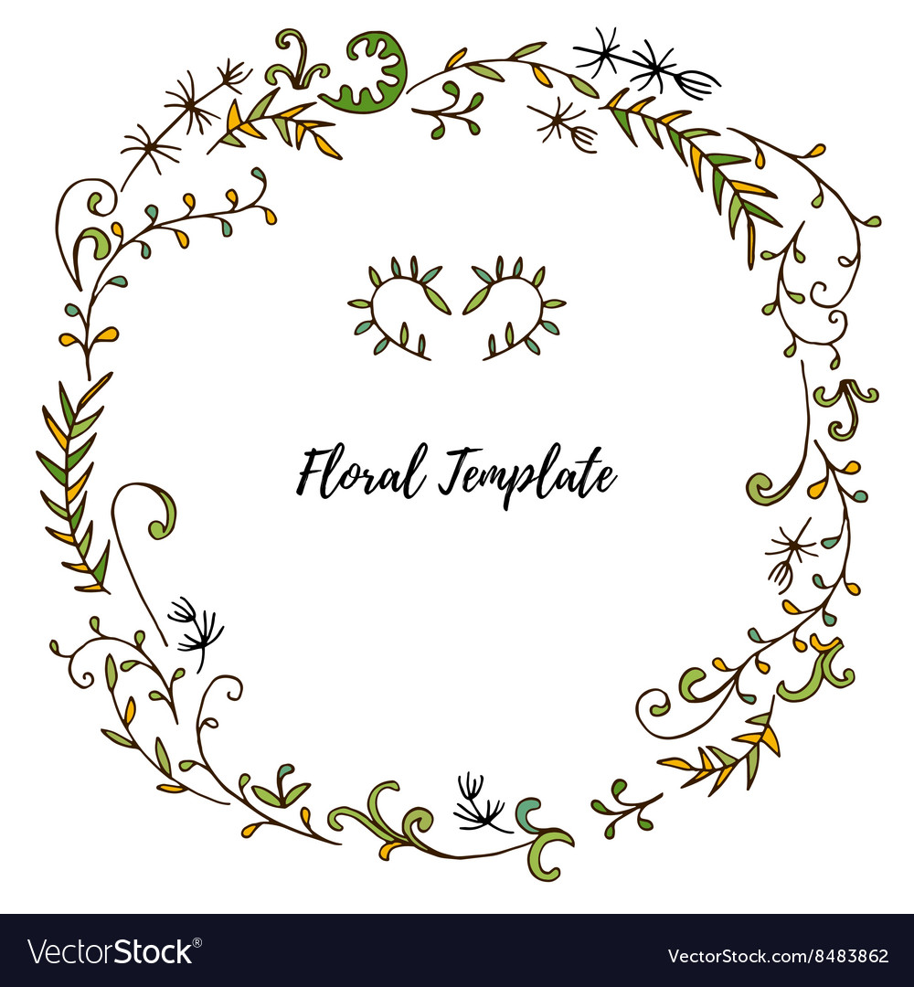 Floral frame with leaves and plants vector