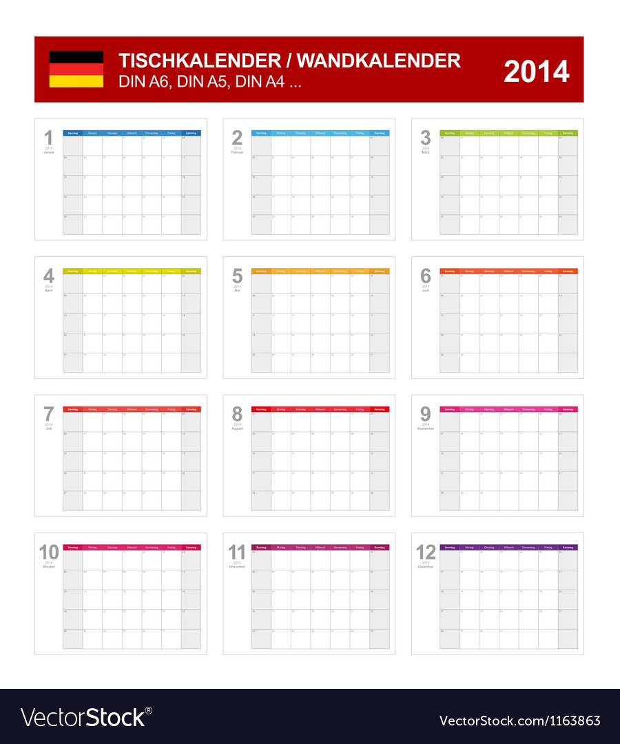 Calendar 2014 german type 8 vector