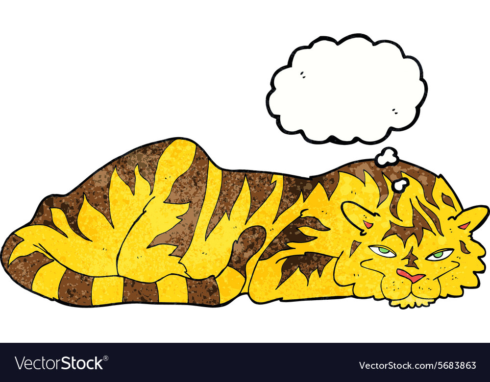 Cartoon resting tiger with thought bubble vector