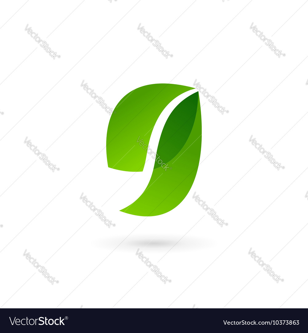 Letter g number 9 eco leaves logo icon design vector