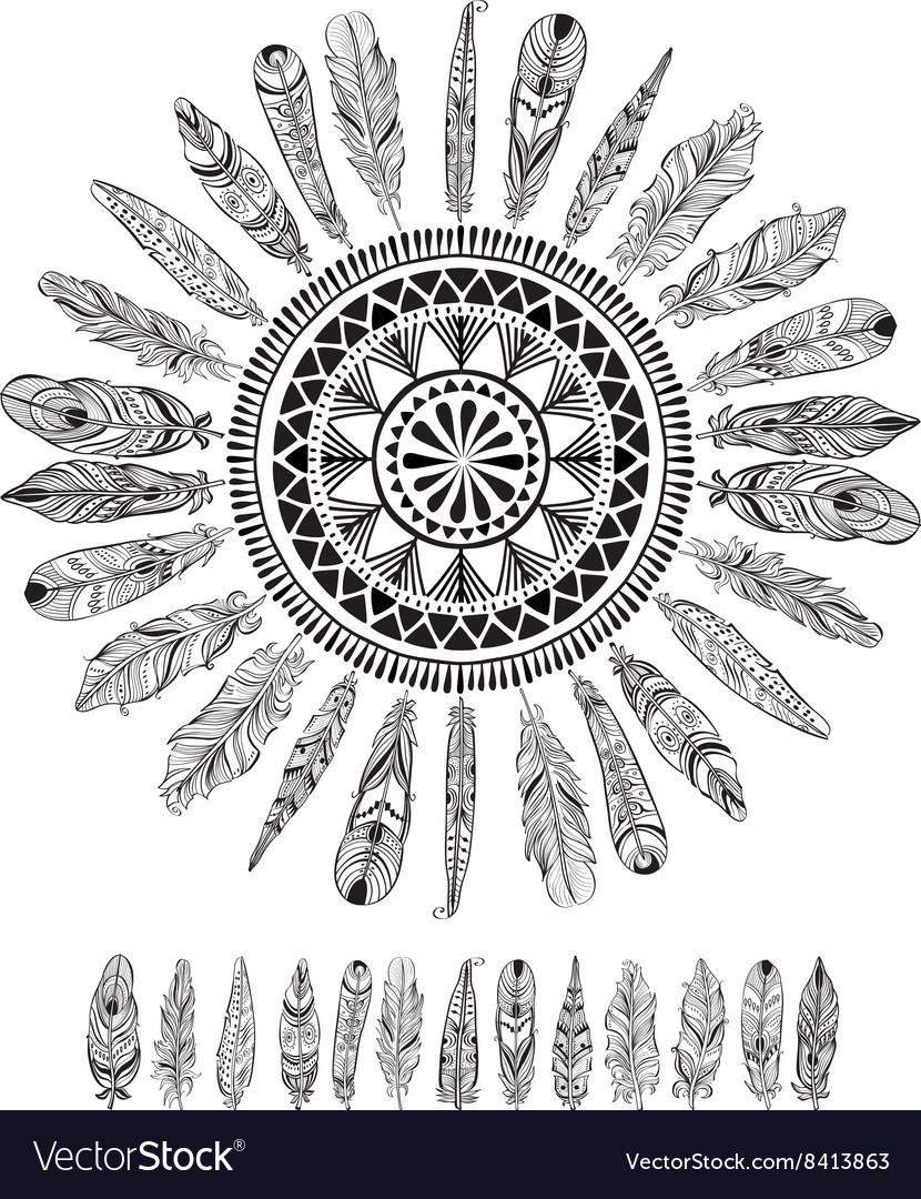Round pattern with feathers in native style vector