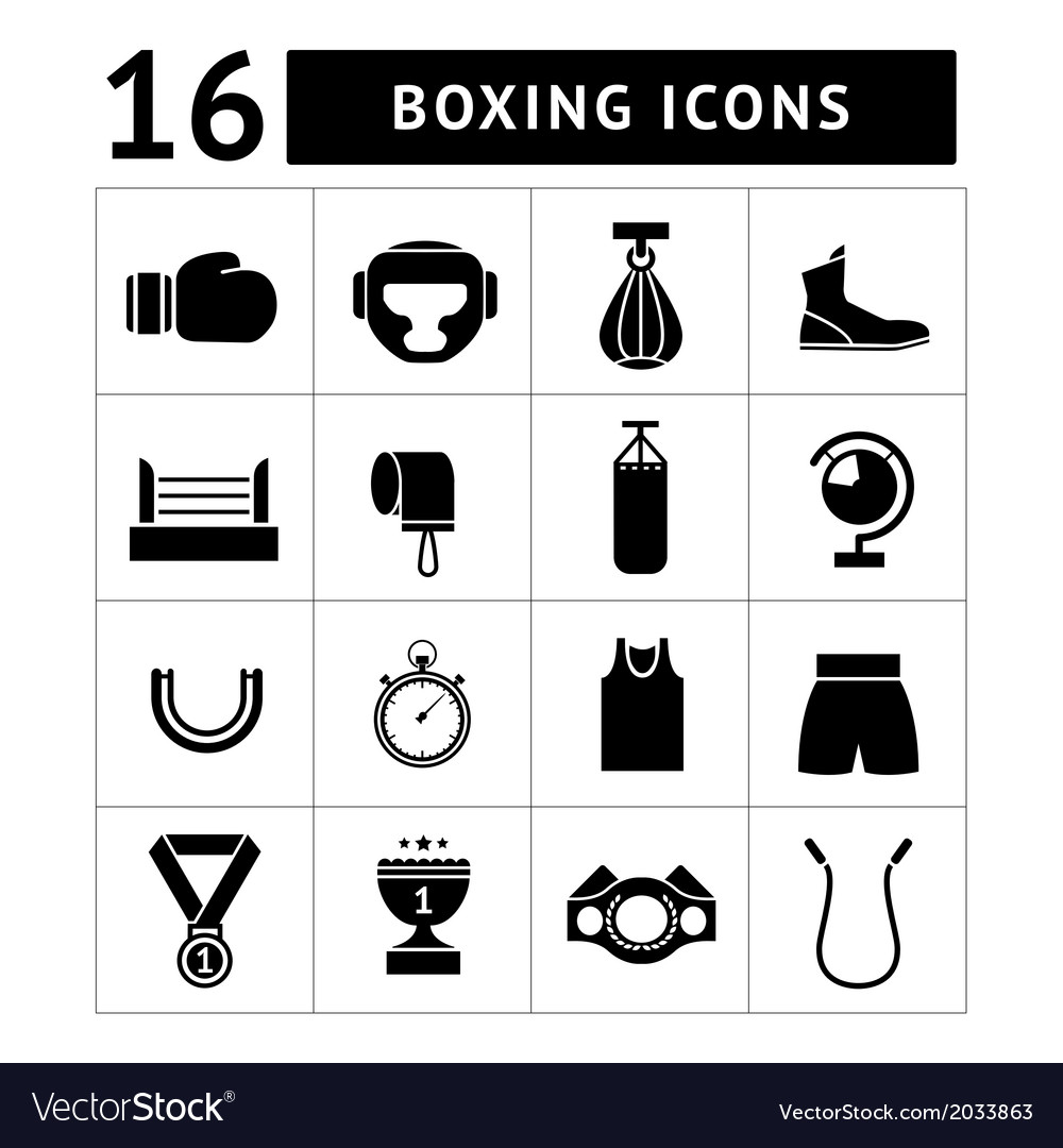 Set icons of boxing vector