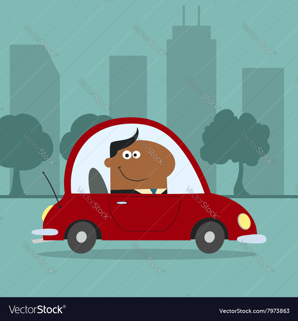 Smiling businessman driving to work vector