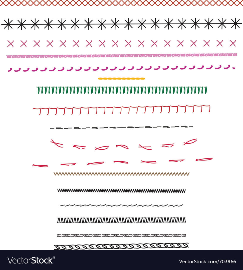 Fashion design stitching source brushes vector