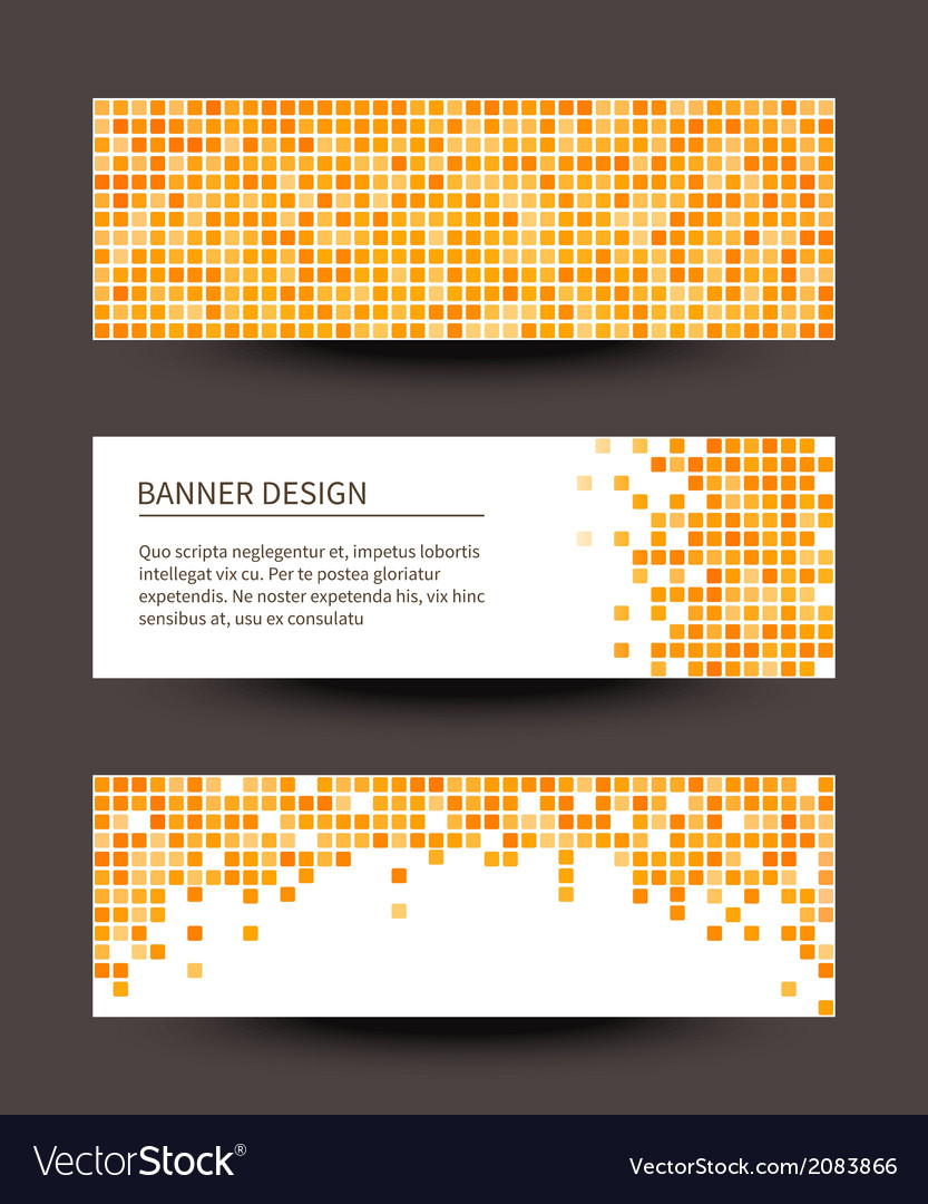 Set of pixel banners on dark background vector