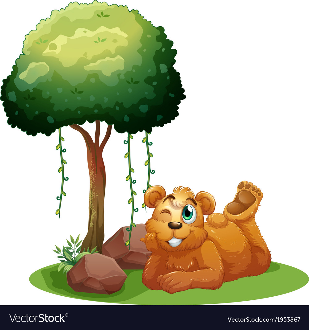 A smiling brown bear lying near the tree vector
