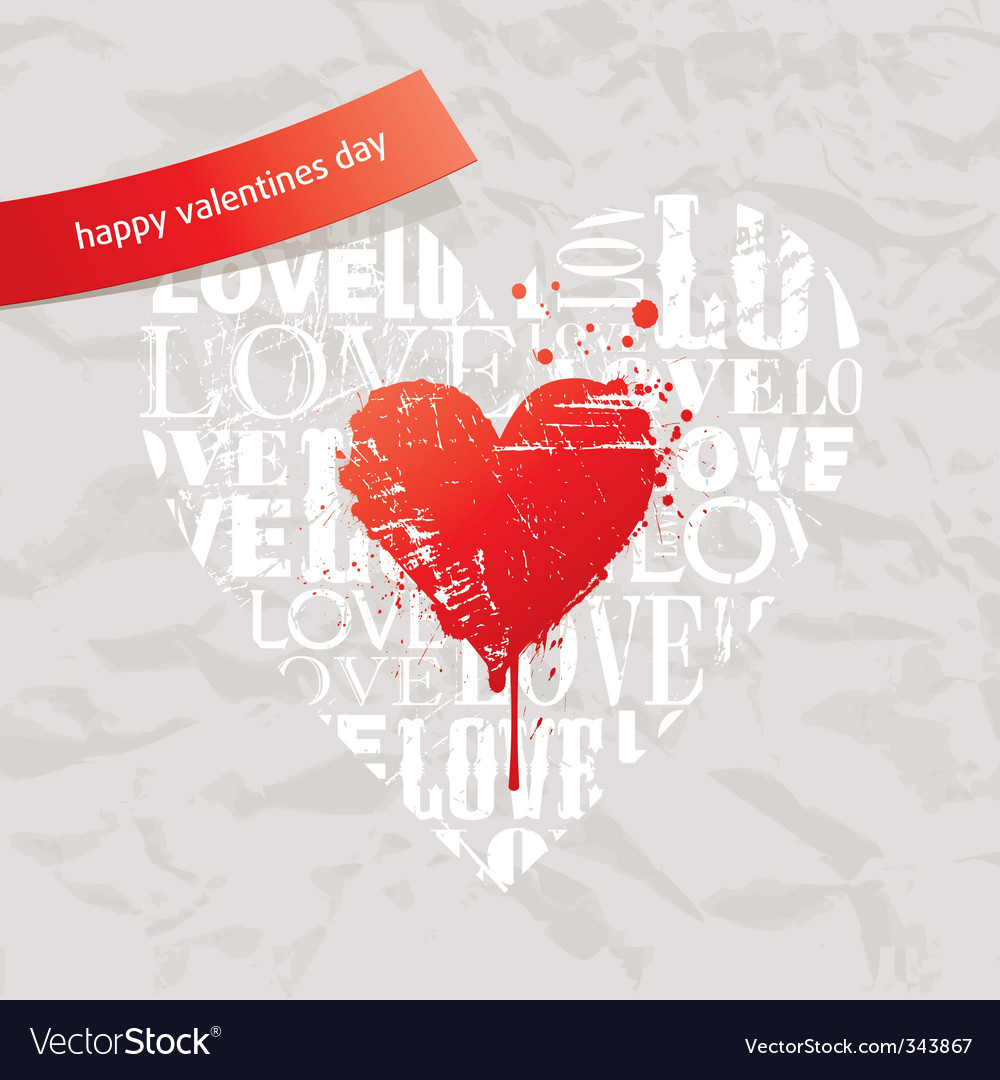 Grunge hearts on vintage pape vector