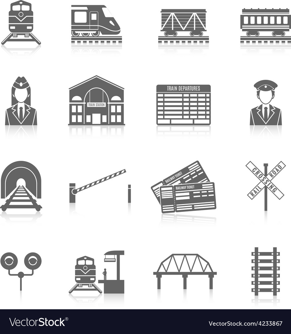 Railway icon set vector