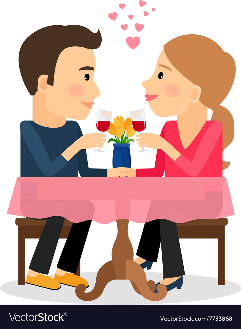 Couple in love dating vector