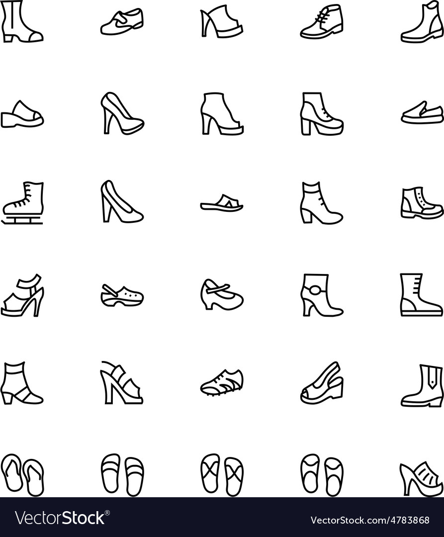 Shoes line icons 2 vector