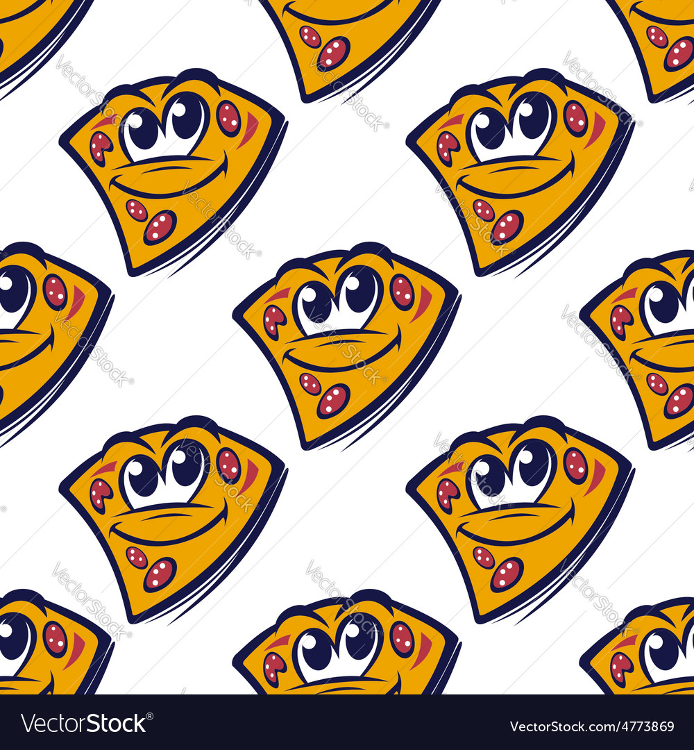 Seamless pattern with cartoon pizza slices vector