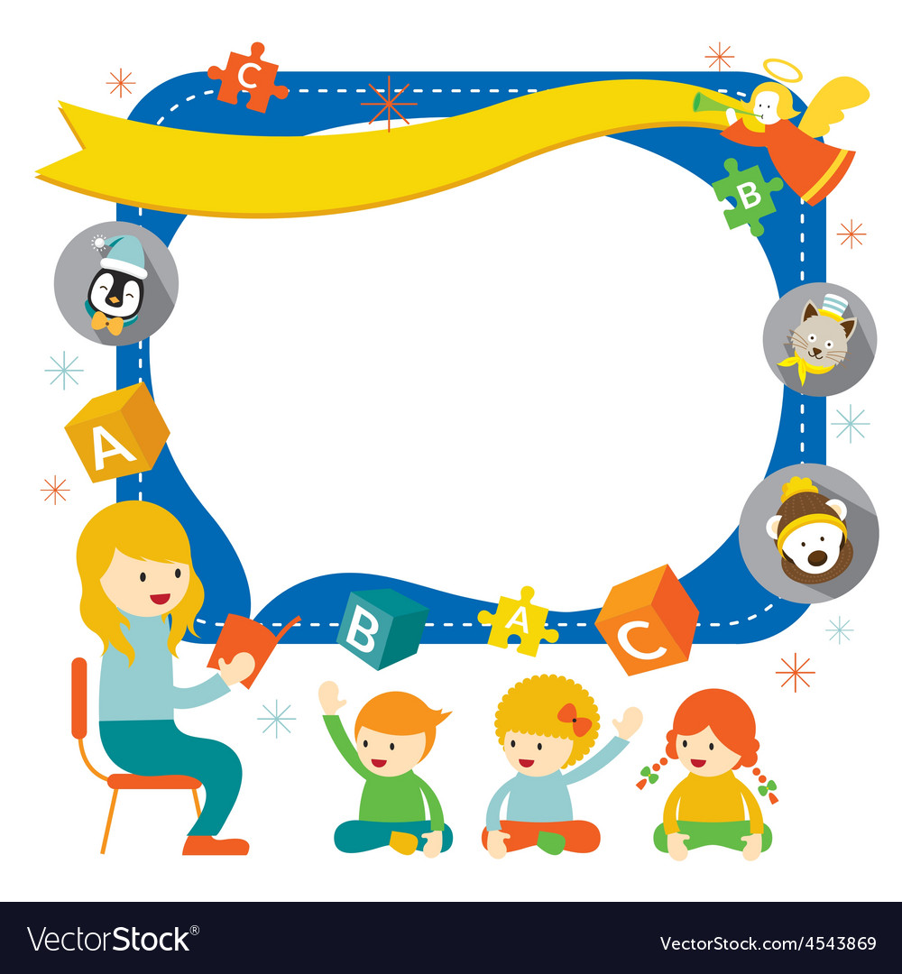 Teacher teach kids with icons frame vector