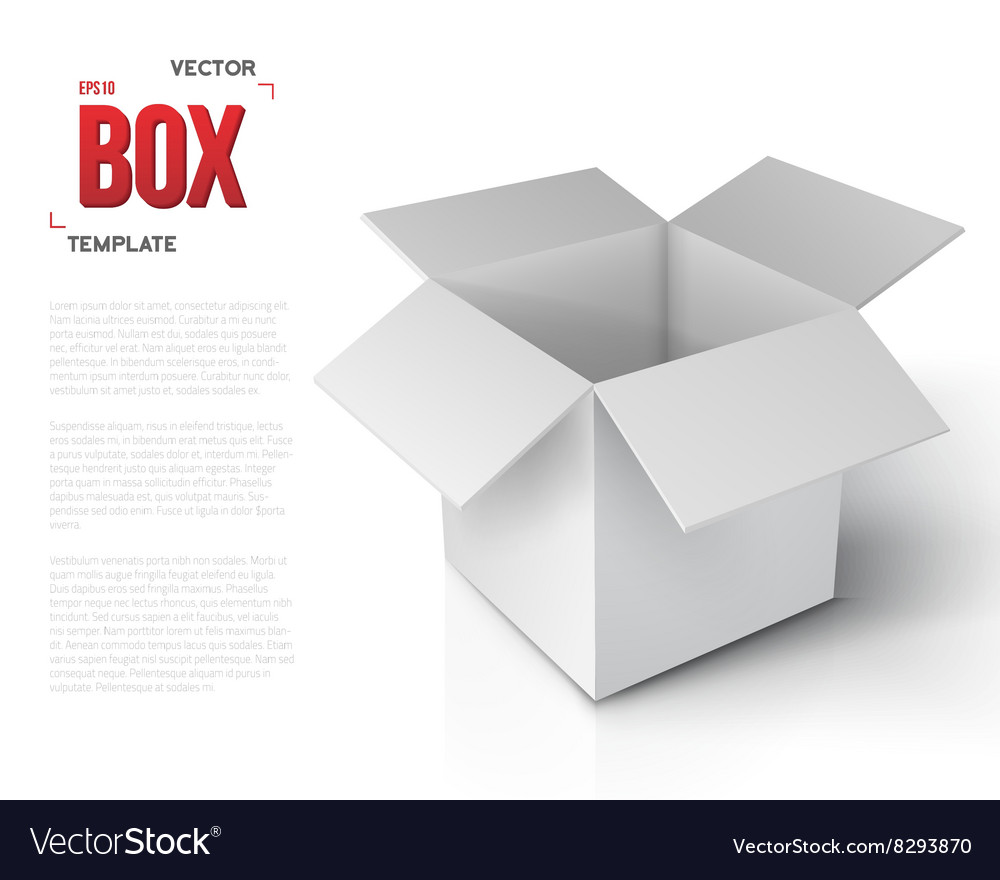 Realistic open package box paper vector