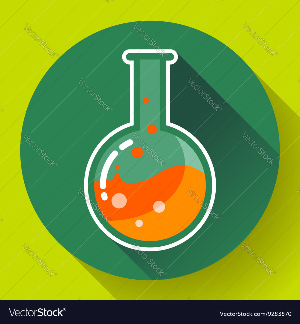 Round chemical lab flask with liquid icon flat vector