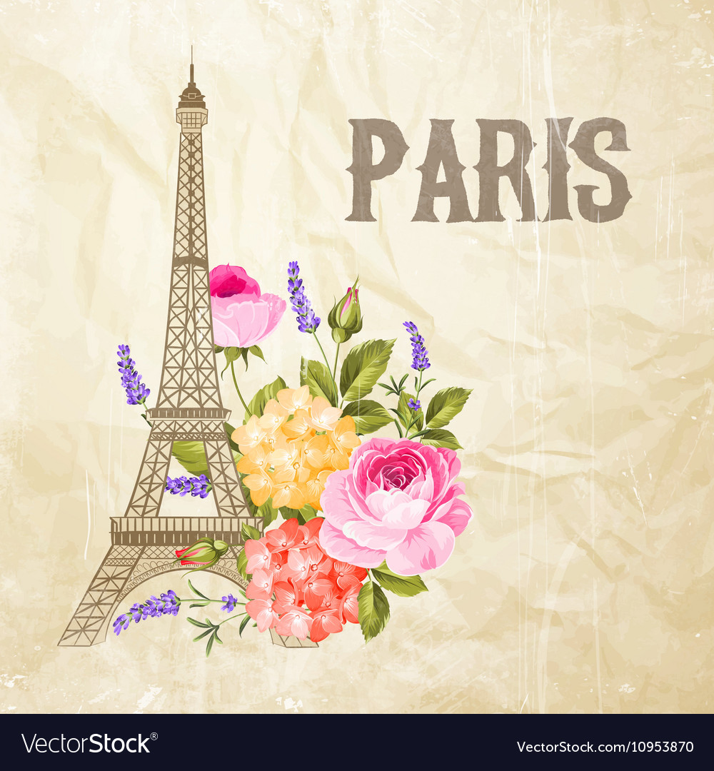 Souvenir card with eiffel tower vector