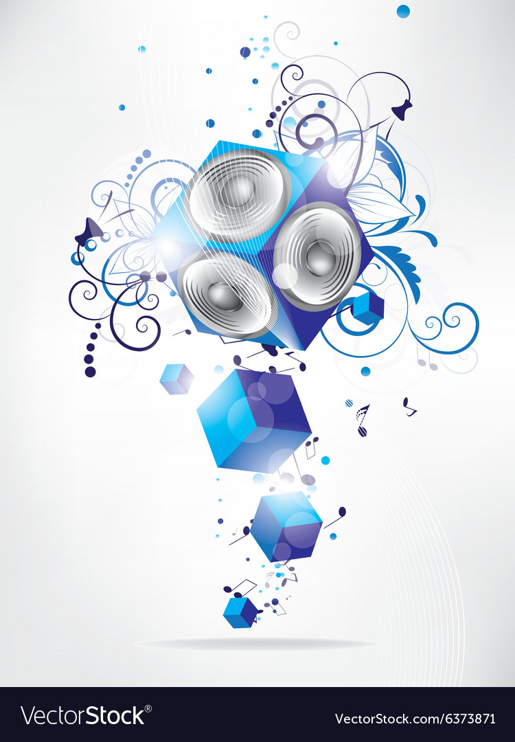 Music background with floral elements and vector