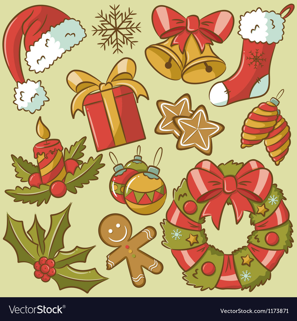 Vintage christmas icons vector