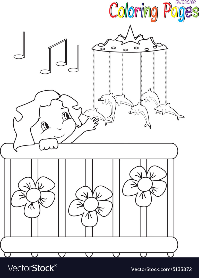 Coloring book baby in bed vector