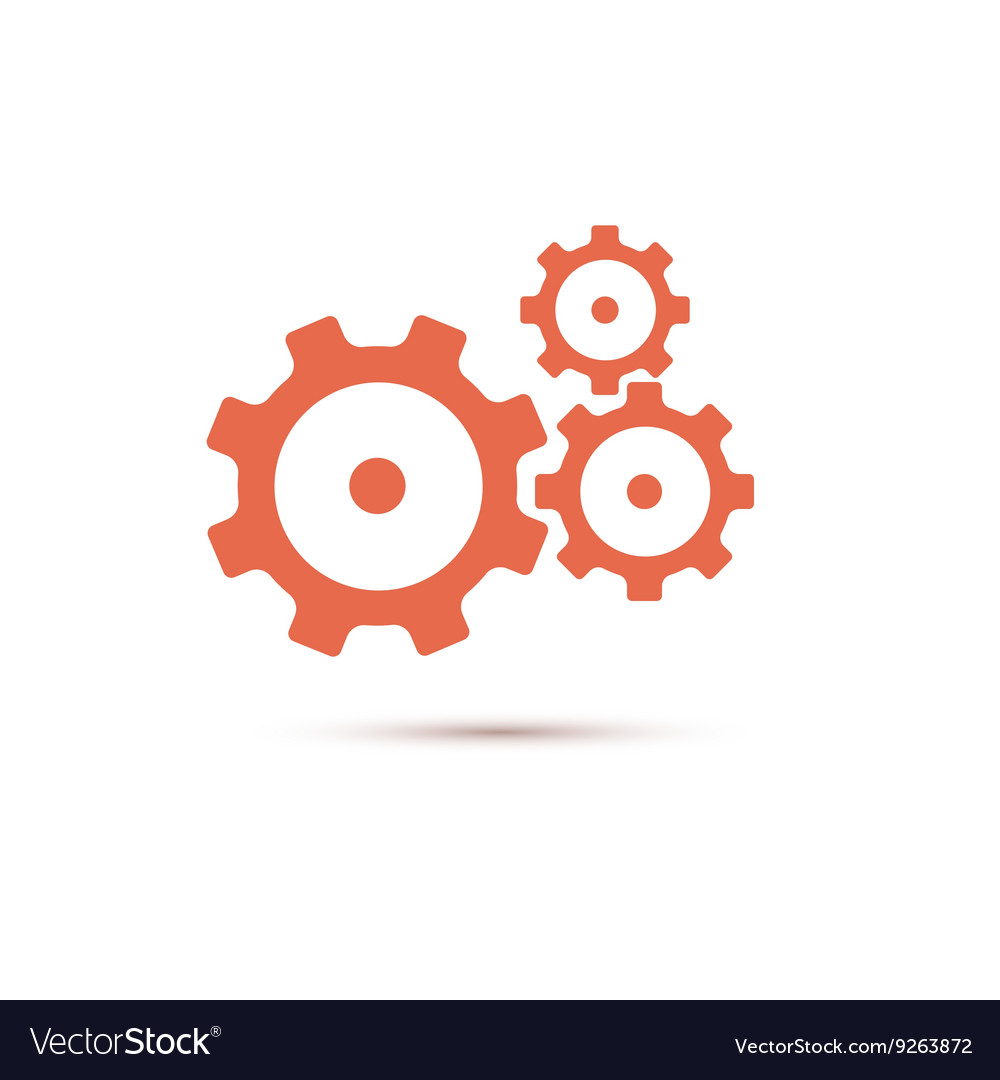 Red gearwheel mechanism in vector