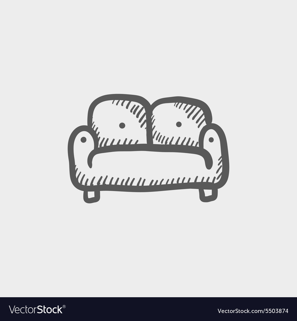 Furniture sofa sketch icon vector