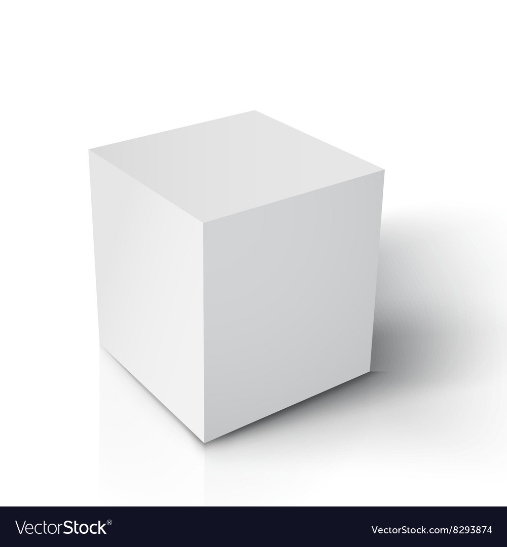 Realistic cube paper white cube vector