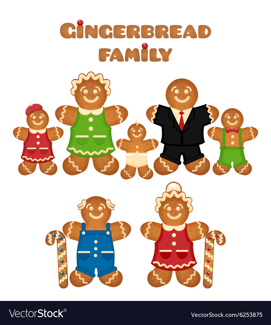 Gingerbread family vector