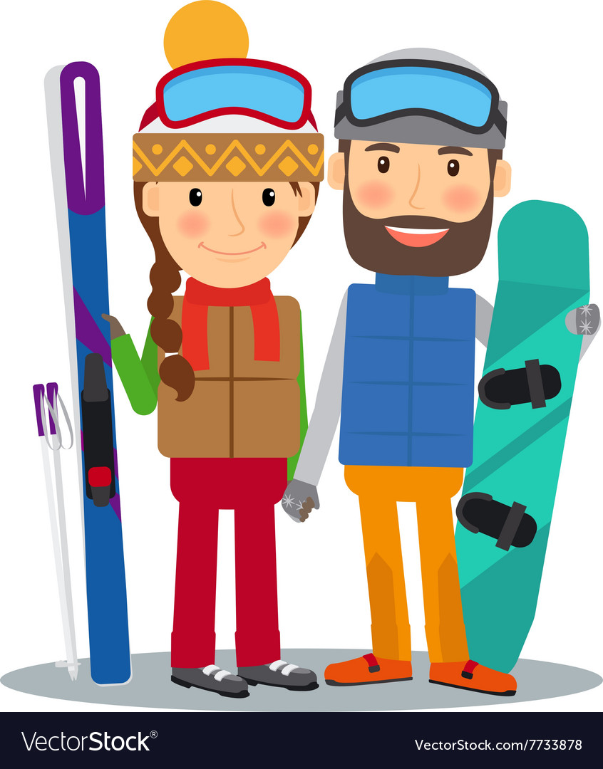 Young couple with ski and snowboard vector