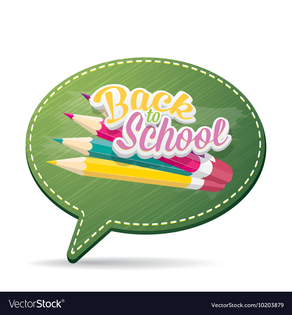 Back to school label on green speech bubble vector
