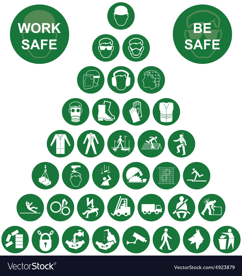 Pyramid health and safety green icon collection vector
