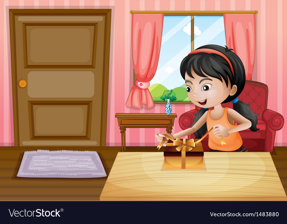 A girl opening her gift inside the house vector
