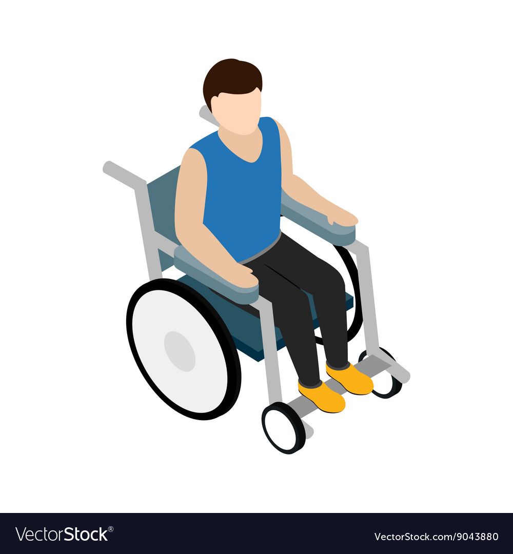 Man sitting on wheelchair icon isometric 3d style vector