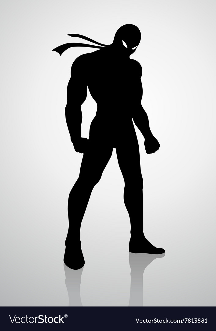 Silhouette of a superhero in a mask vector