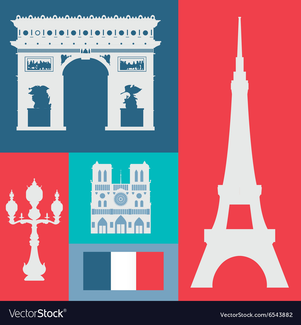 Paris landmarks design vector