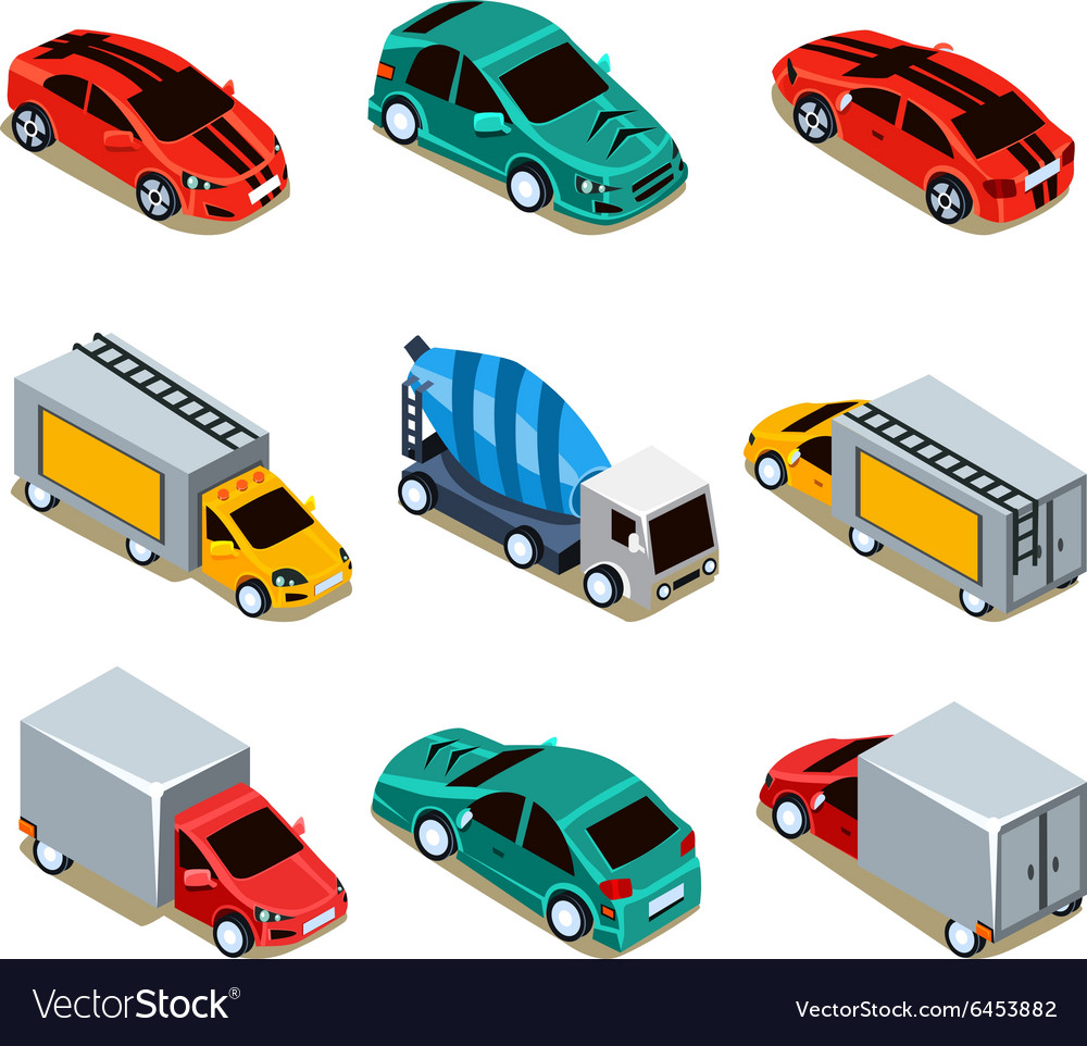 Transport icon set flat 3d isometric vector