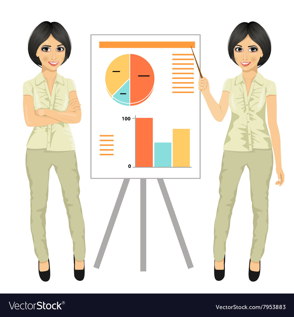 Chinese businesswoman standing near flip board vector