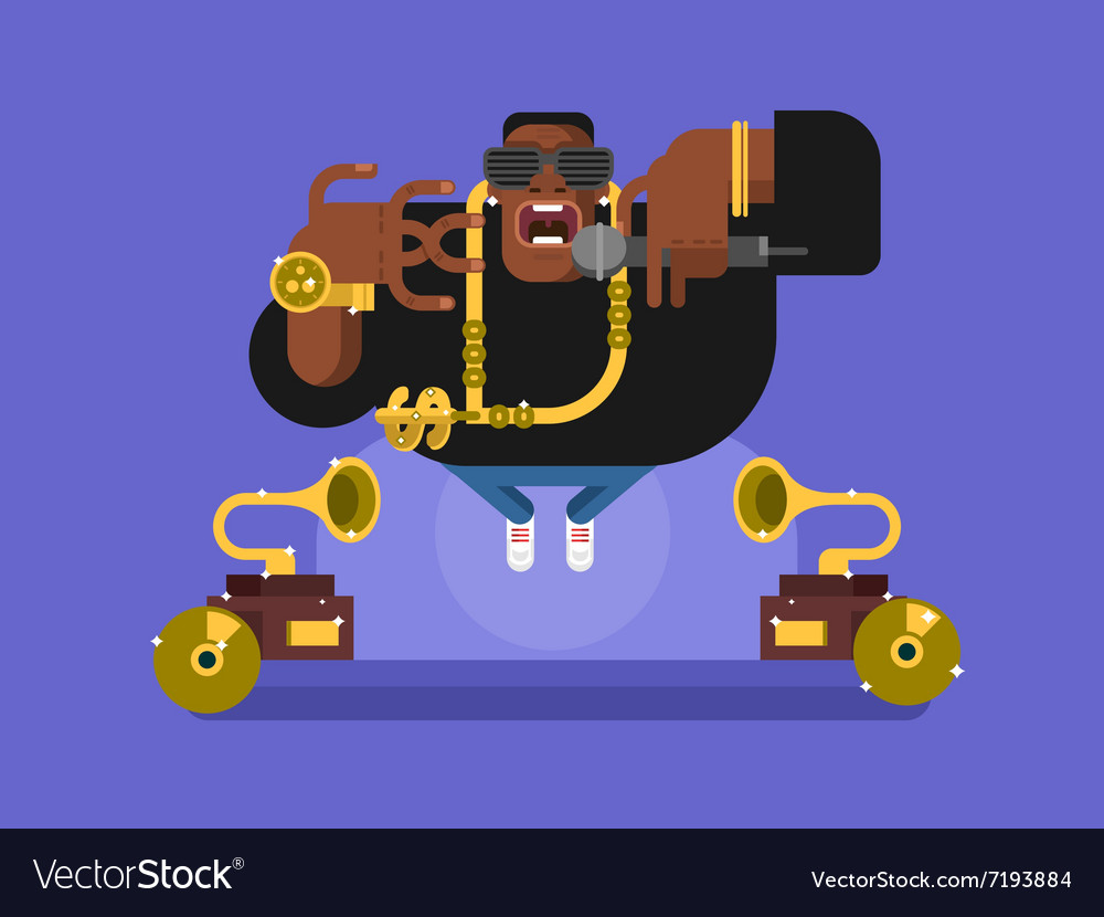 Black rapper character vector