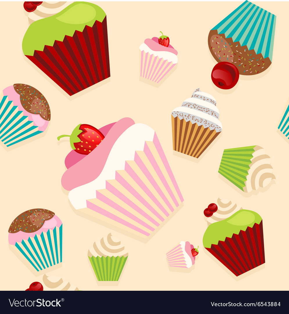 Cute seamless texture with cupcakes vector