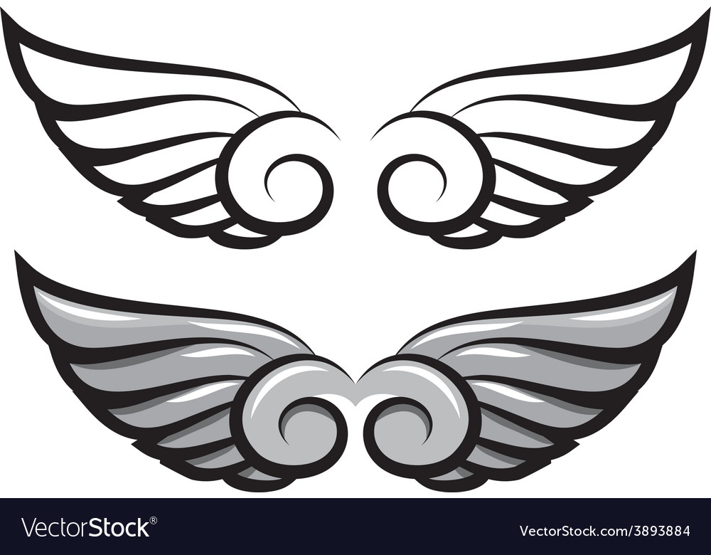 Set two pairs of wings black and colored vector