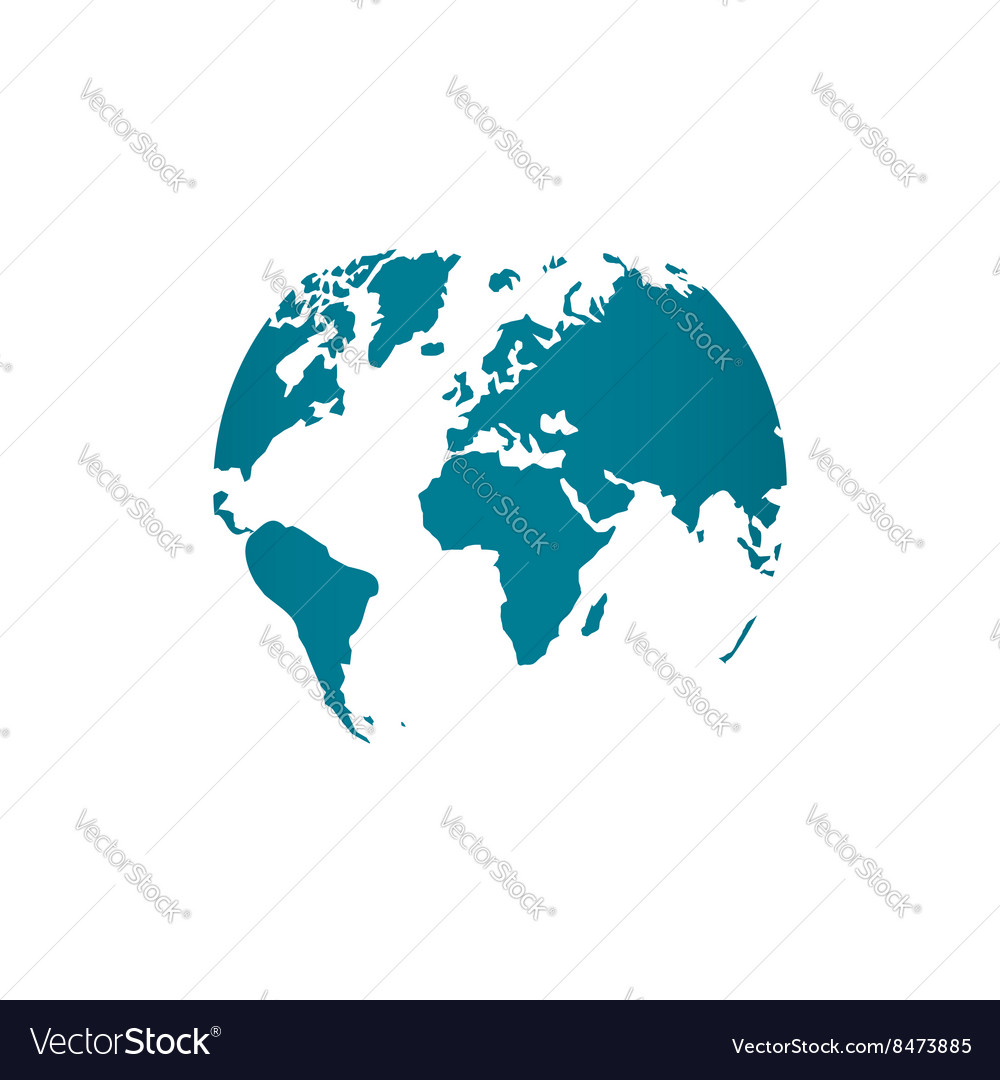 Blue world map globe isolated vector