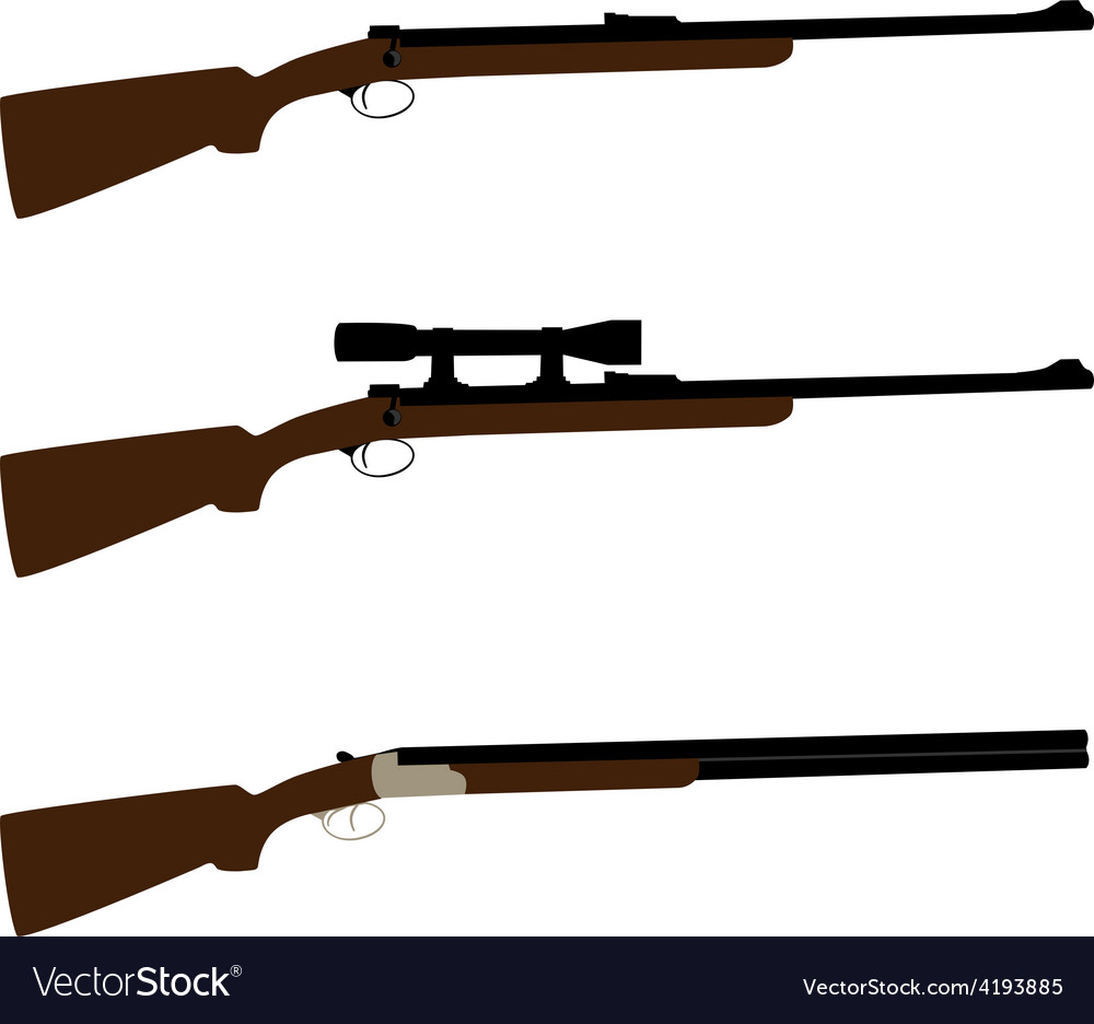 Huntingsniper rifle and shotgun vector