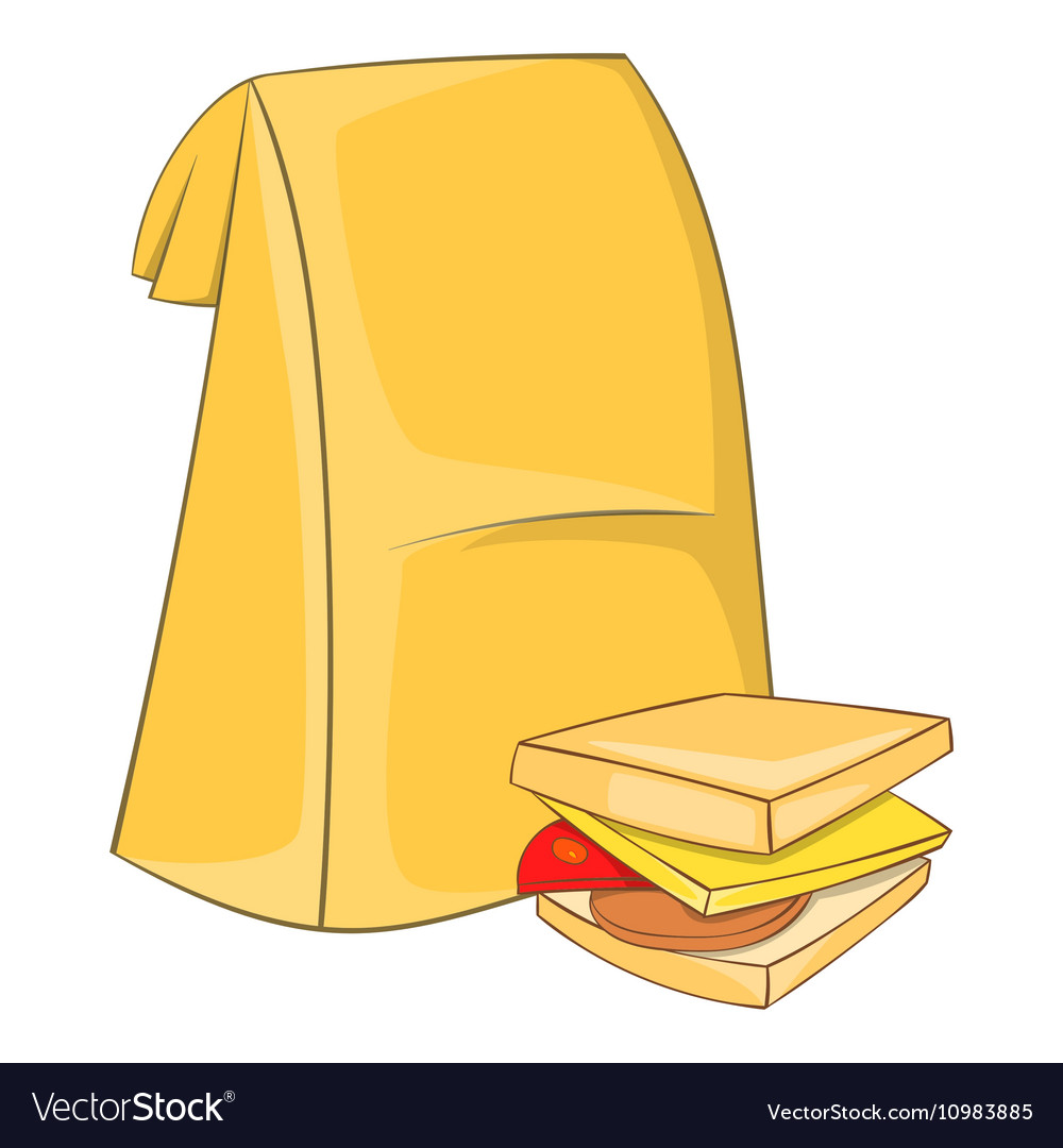Lunch bag and sandwich icon cartoon style vector