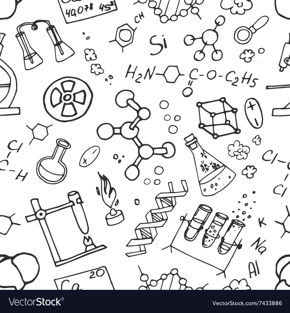 Doodle pattern chemistry vector