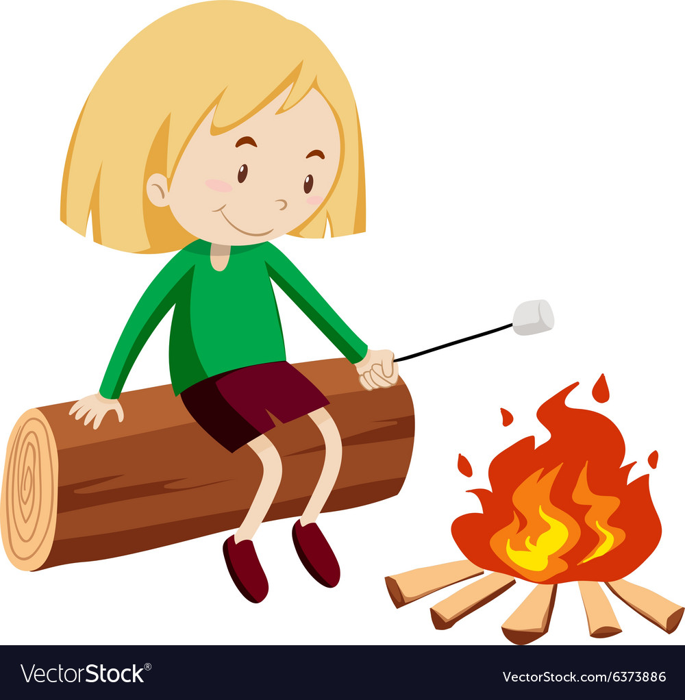 Girl at the campfire vector