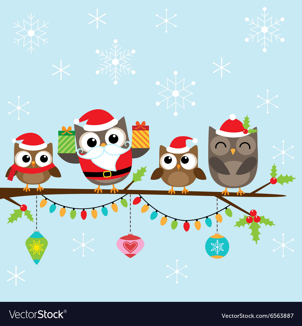 Christmas family of owls vector