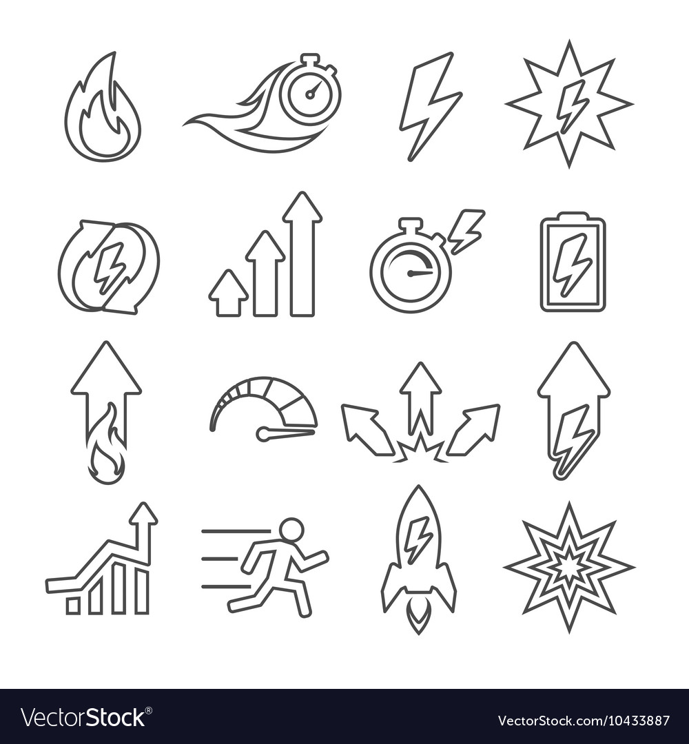 Performance line icons set vector