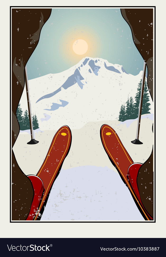 Vintage skier getting ready vector